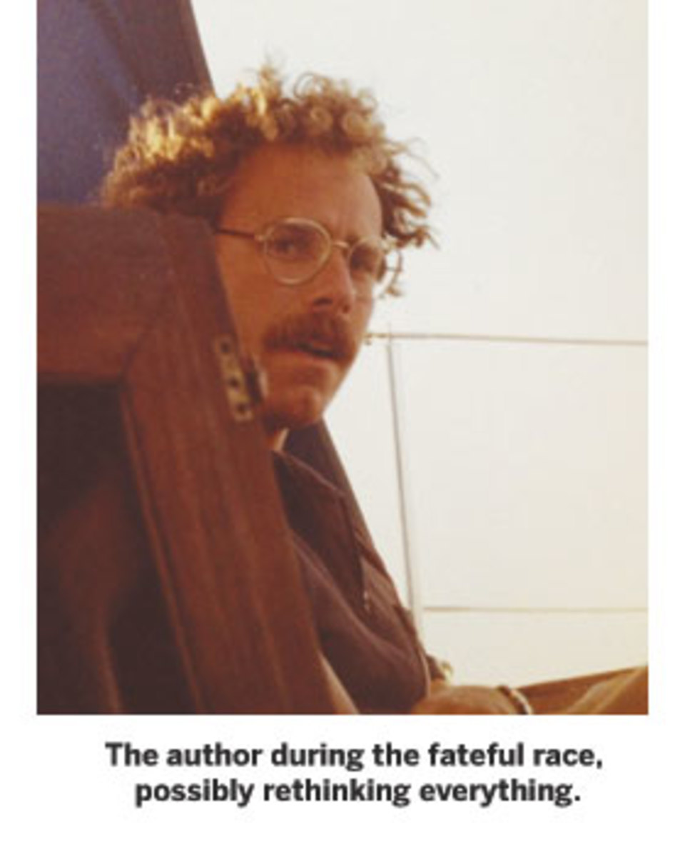 The author during the fateful race, possibly rethinking everything.