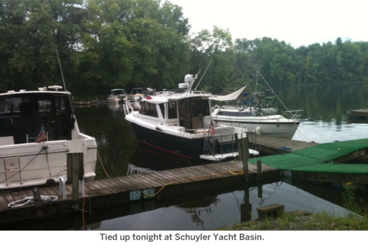 Tied up tonight at Schuyler Yacht Basin.