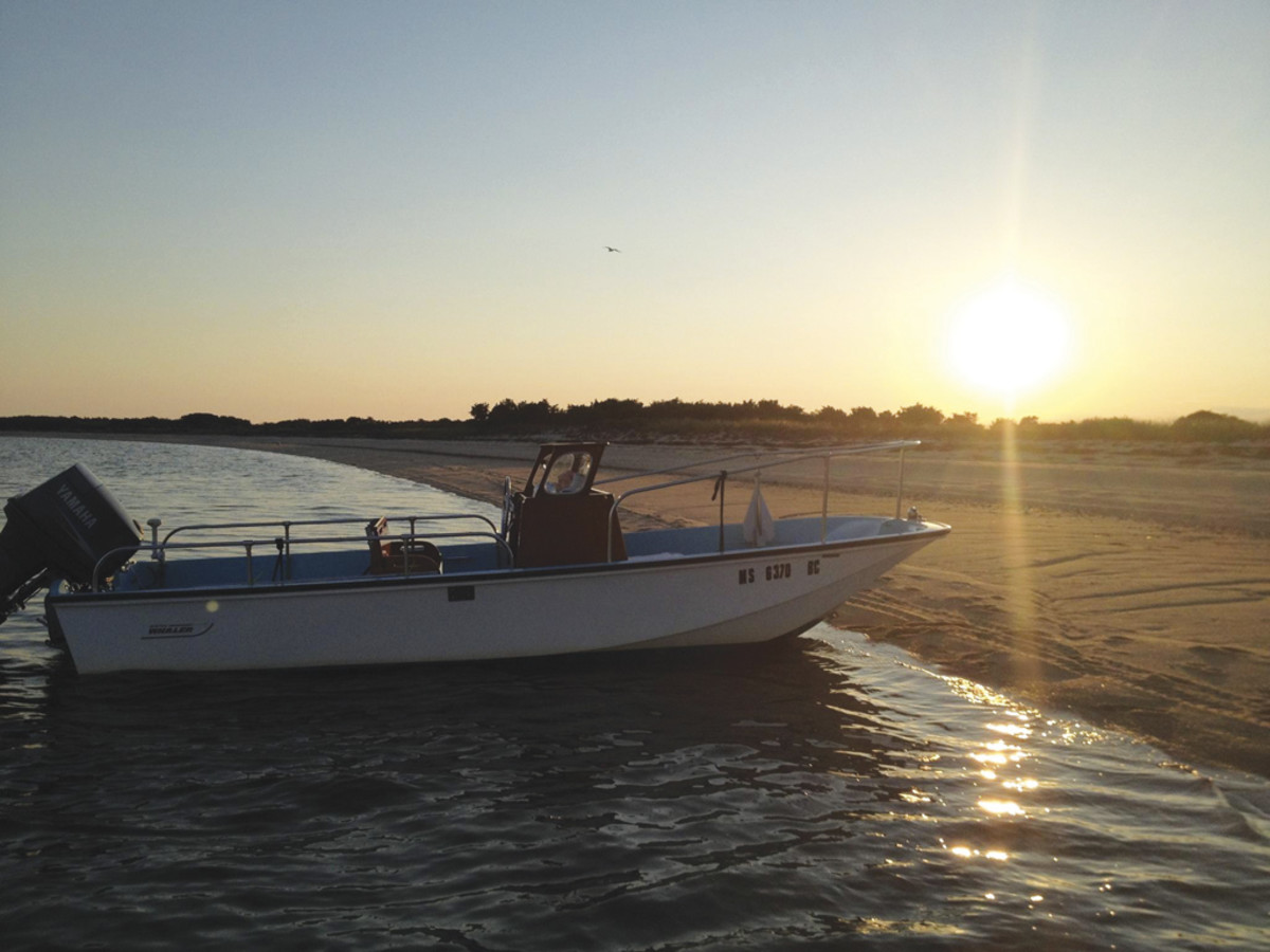 The author's restored 1968 Boston Whaler Nauset is the ideal beachcomber.