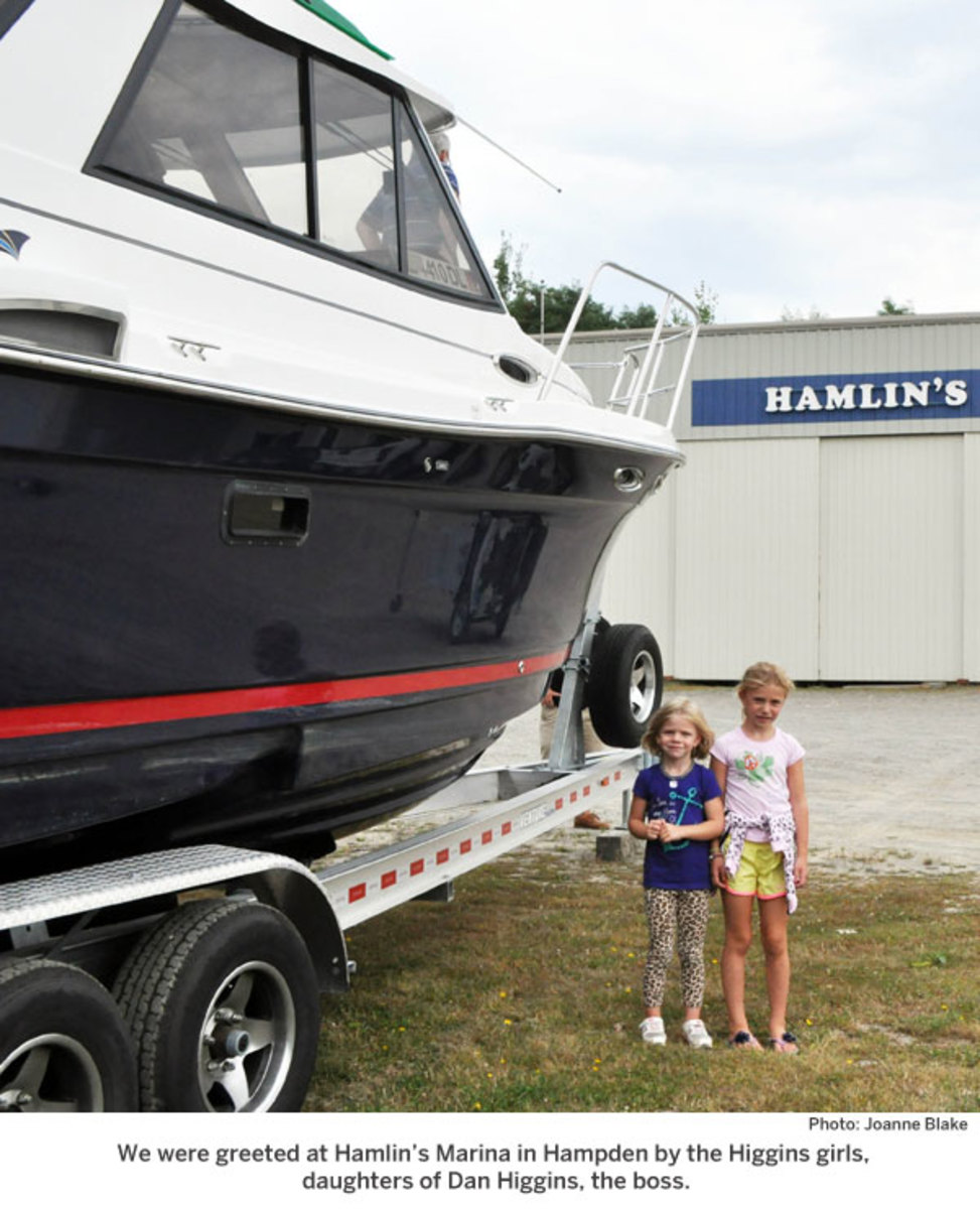 We were greeted at Hamlin's Marina in Hampden by the Higgins girls, daughters of Dan Higgins, the boss.