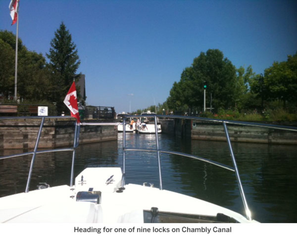 Heading for one of nine locks on Chambly Canal