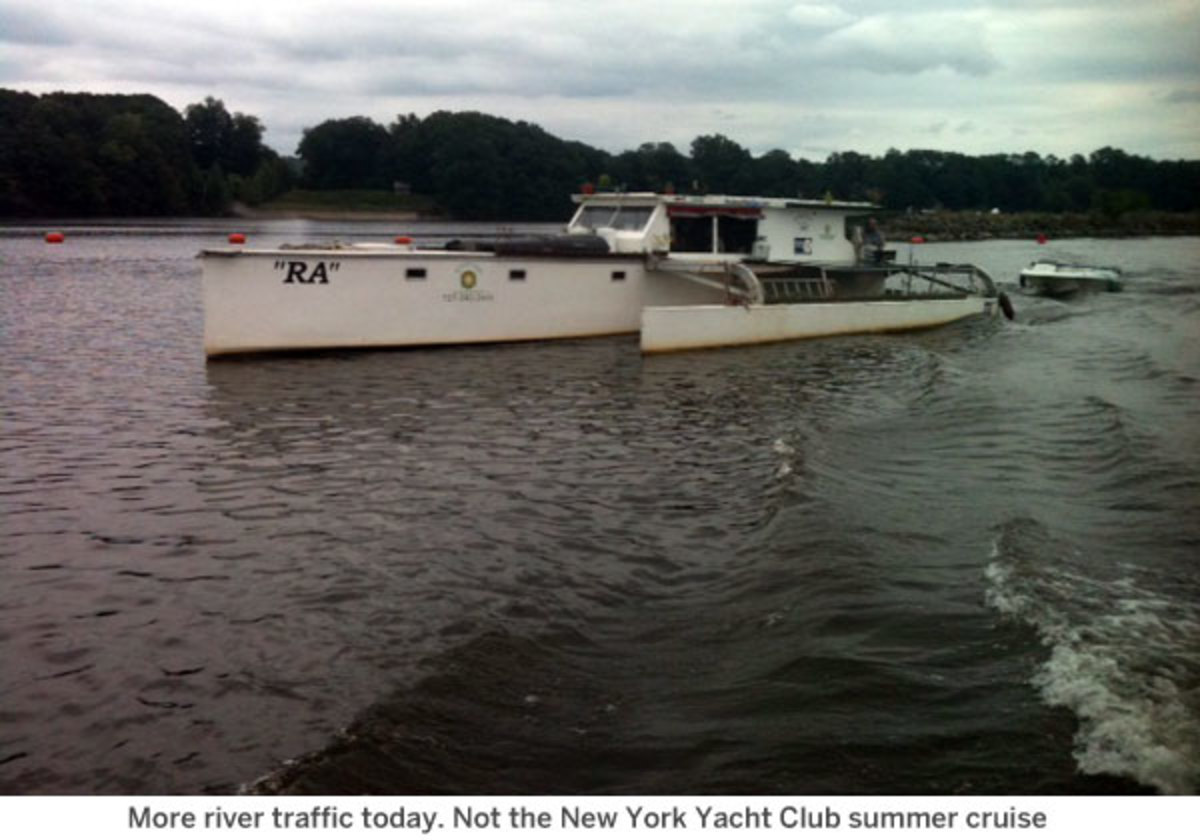 More river traffic today. Not the New York Yacht Club summer cruise