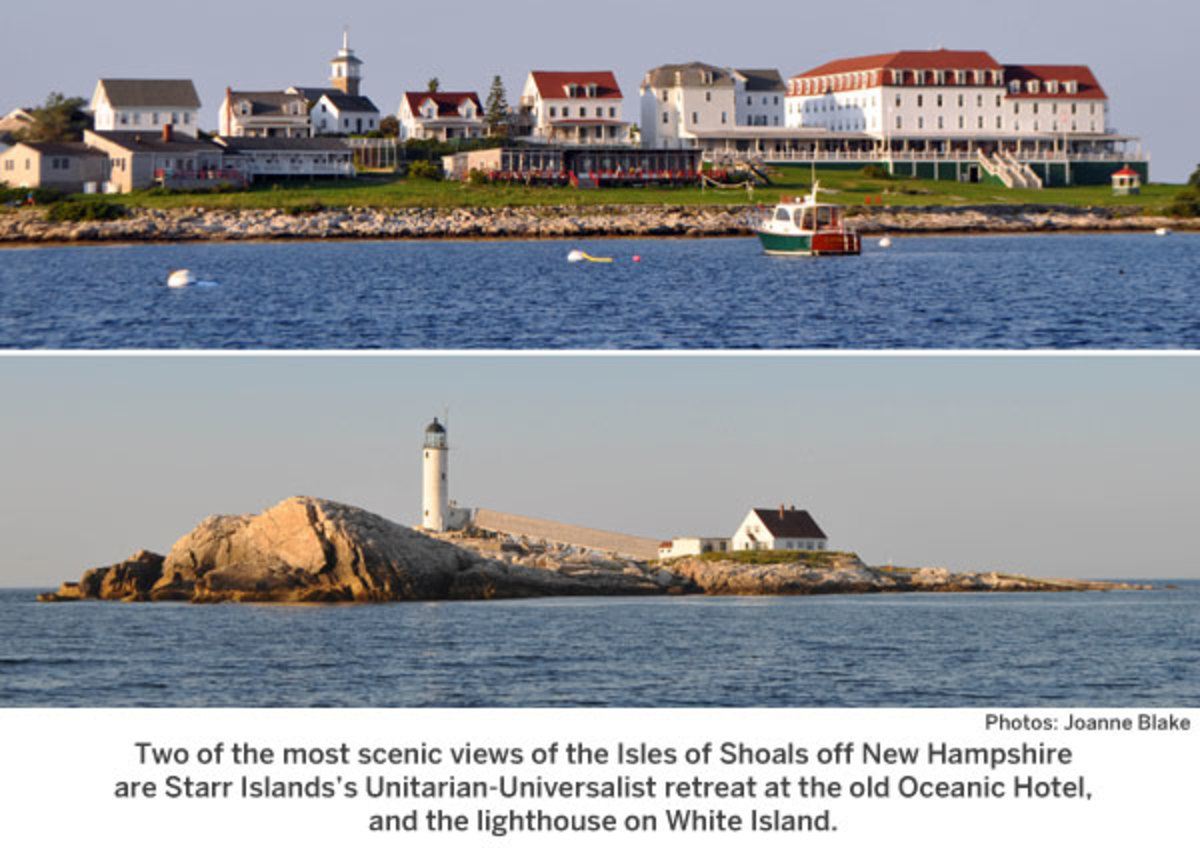 Two of the most scenic views of the Isles of Shoals off New Hampshire are Starr Islands's Unitarian-Universalist retreat at the old Oceanic Hotel, and the lighthouse on White Island.