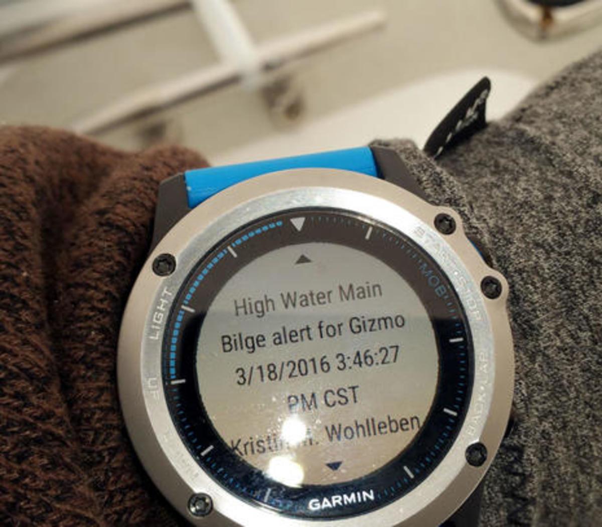 Boat Command email alarm on Garmin Quatix