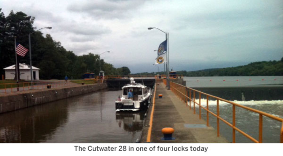 The Cutwater 28 in one of four locks today