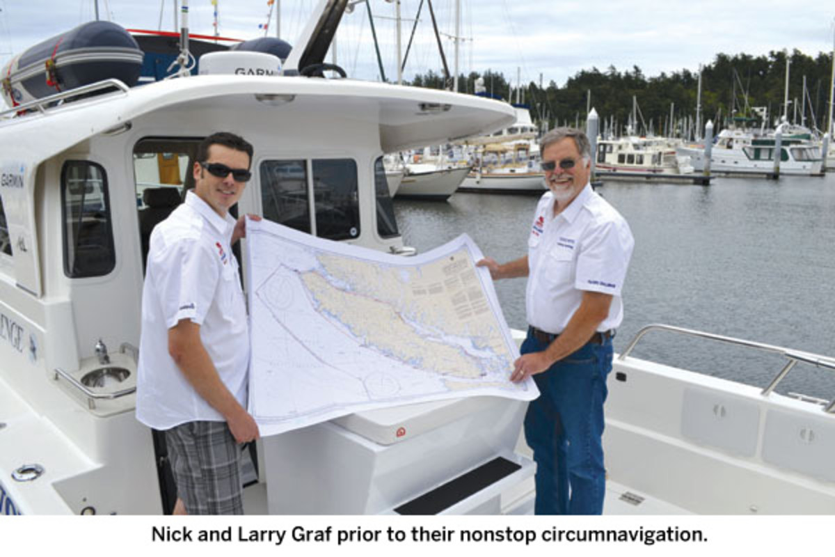 Nick and Larry Graf prior to their nonstop circumnavigation.