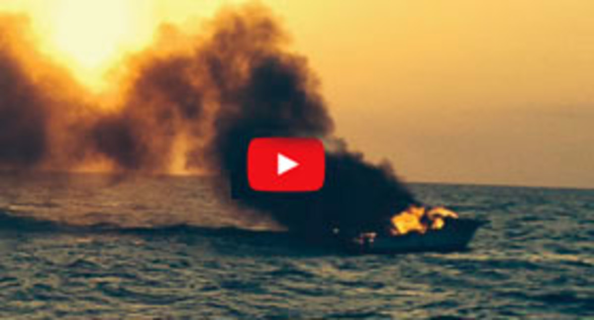 Boat on fire video