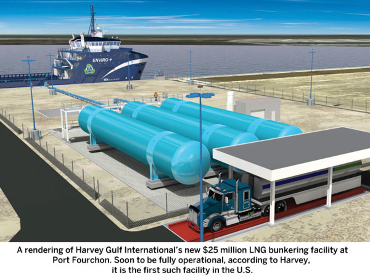 A rendering of Harvey Gulf International's new $25 million LNG bunkering facility at Port Fourchon. Soon to be fully operational, according to Harvey,  it is the first such facility in the U.S.