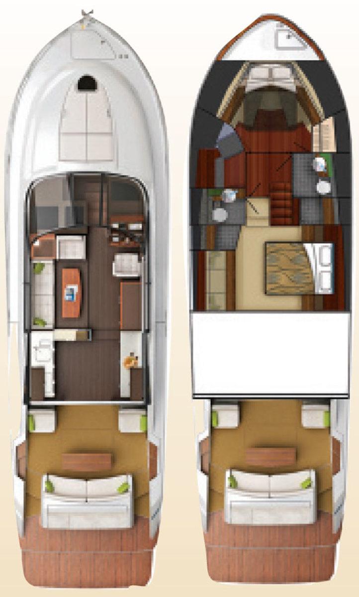 Tiara 50 Flybridge layout diagram