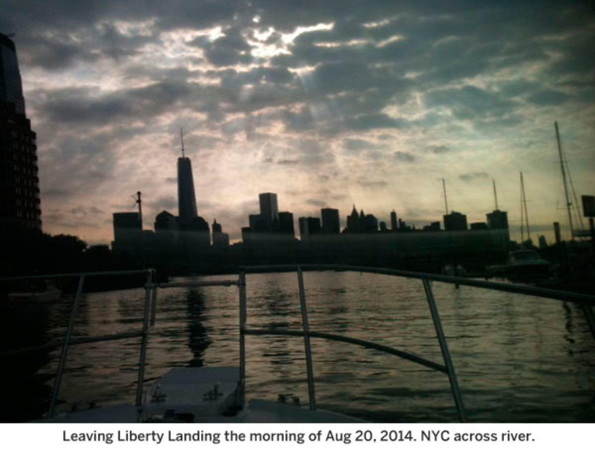 Leaving Liberty Landing this morning NYC across river