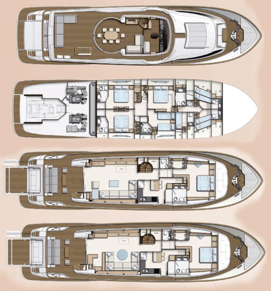 Ferretti Custom Line Navetta 28 deckplans