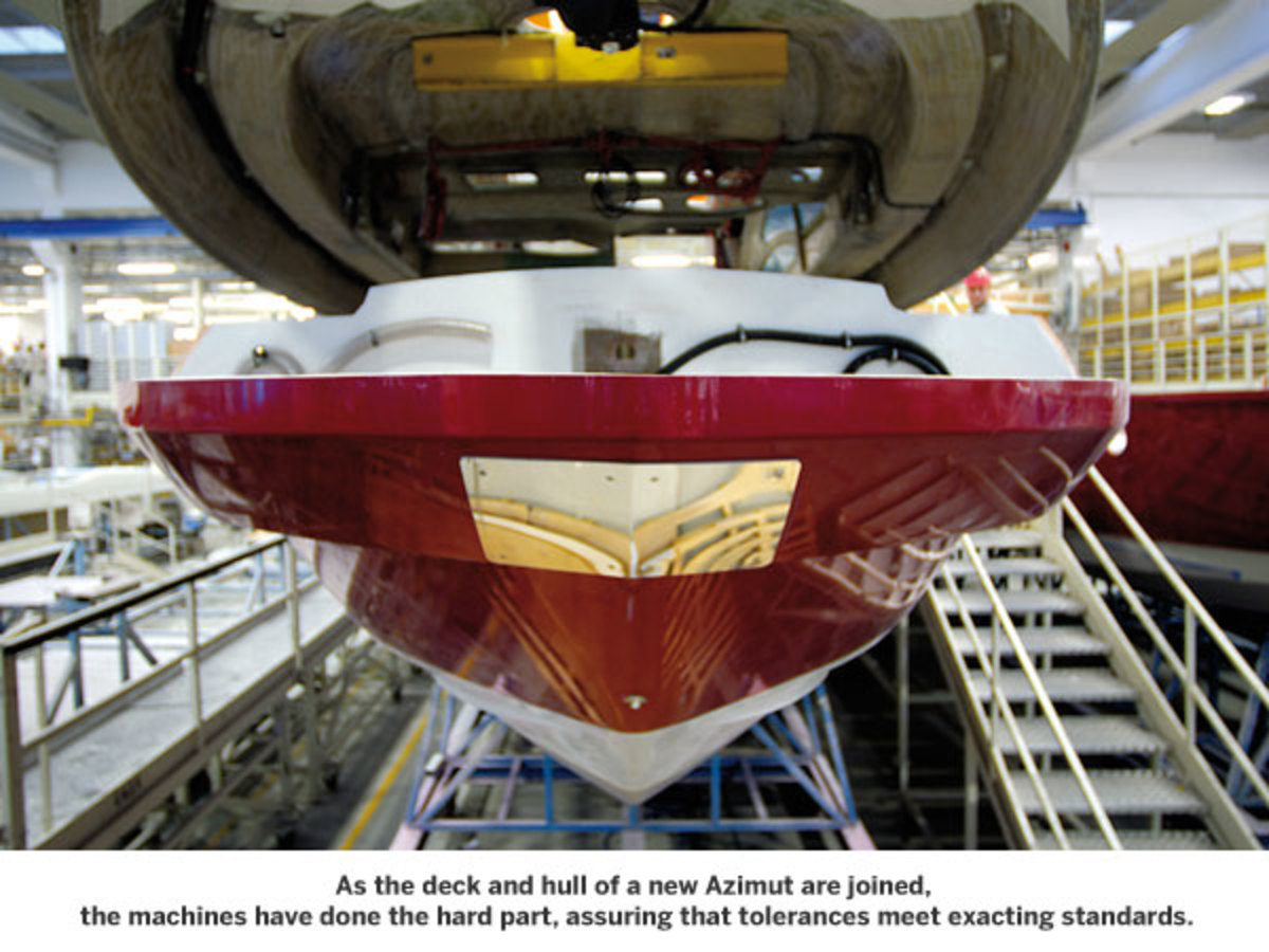 The deck and hull of a new Azimut are joined