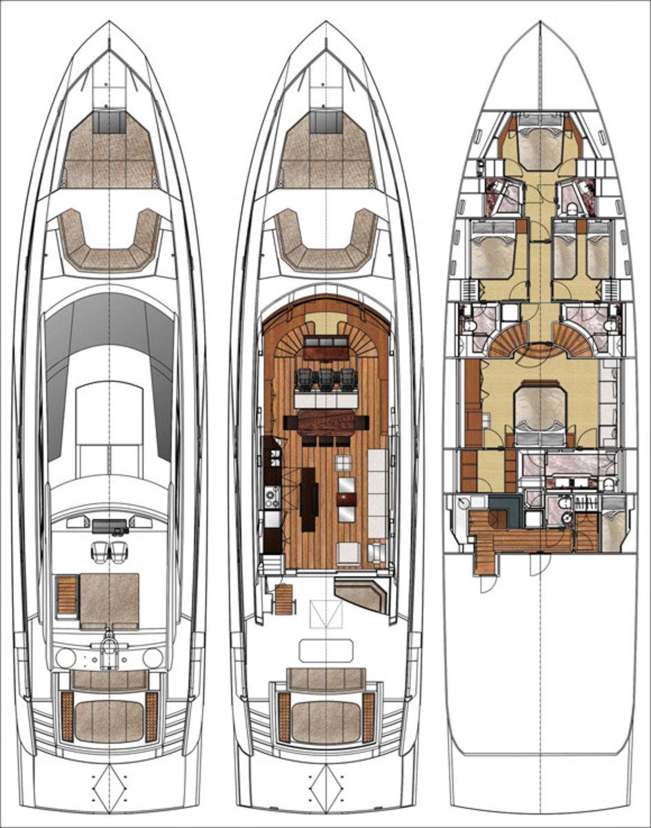 Deck plans for the Cheoy Lee Alpha 87 Sportbridge