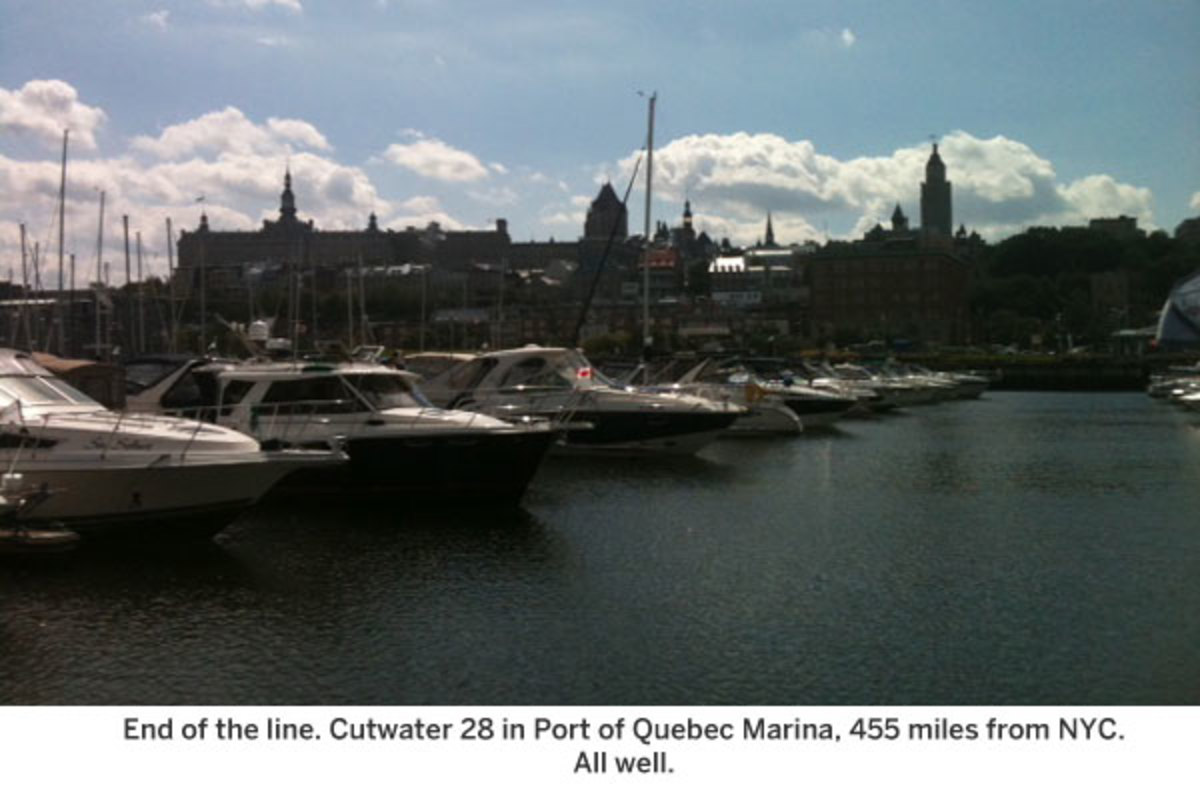 End of the line. Cutwater 28 in Port of Quebec Marina, 455 miles from NYC.