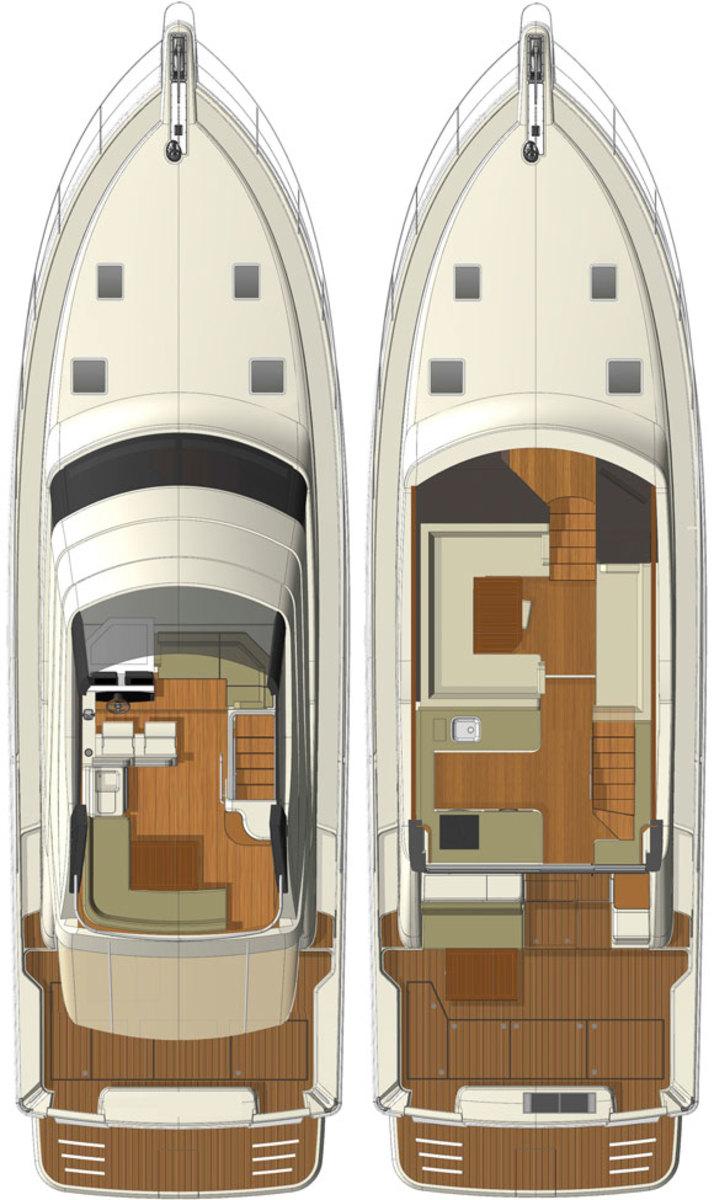Riviera 50 - layout diagrams, upper decks