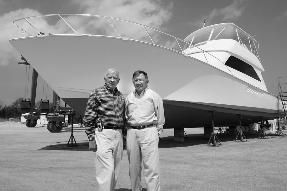 Bob and Bill stand together at the New Gretna factory.