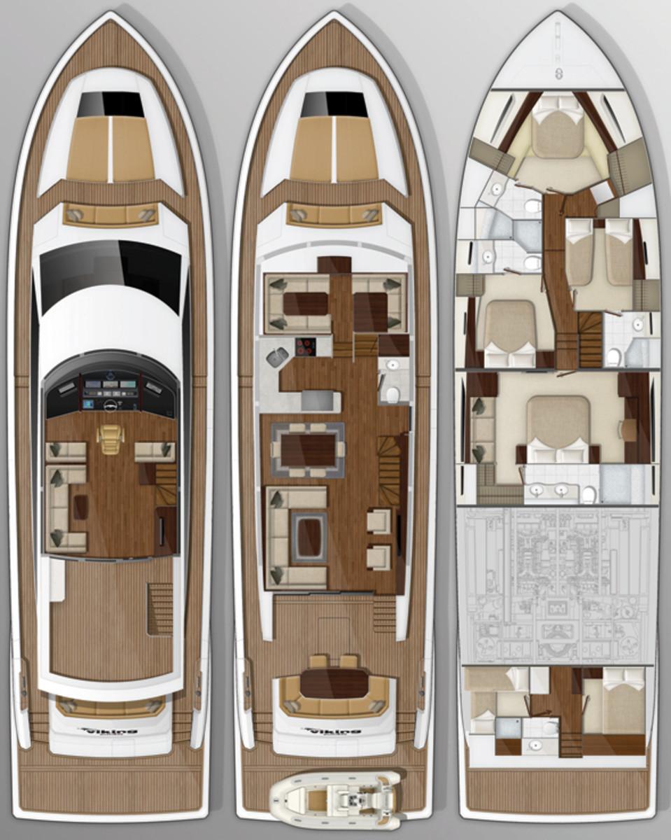 Viking 75 Motoryacht deckplans
