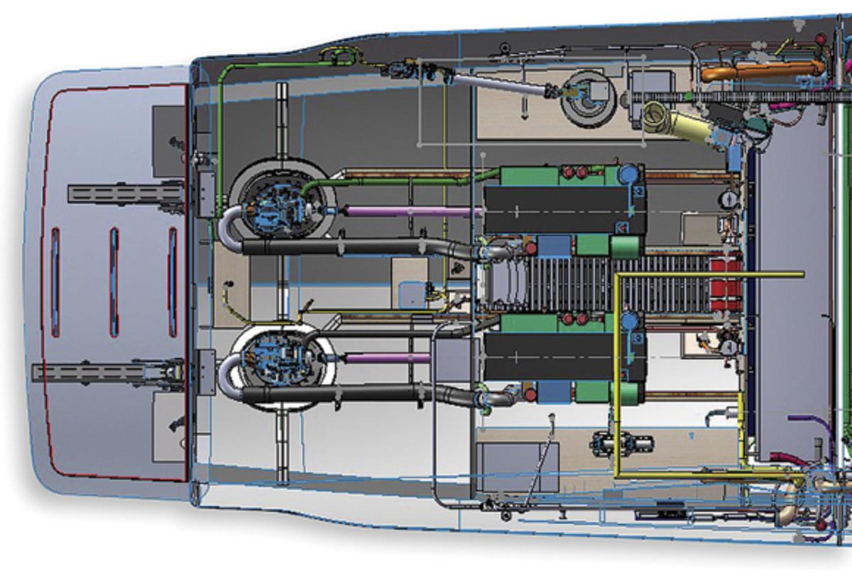 Tiara 44 Coupe Engine Room Plan