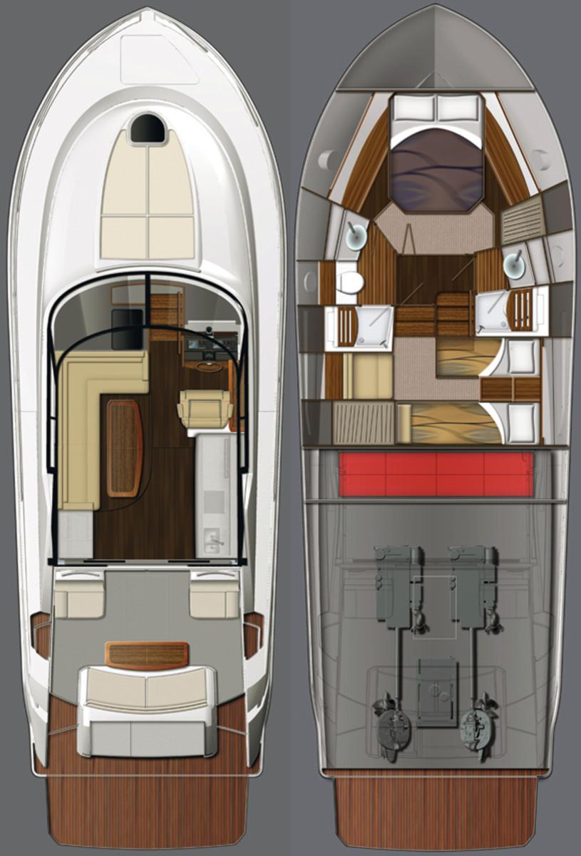 Tiara 44 Coupe deckplans