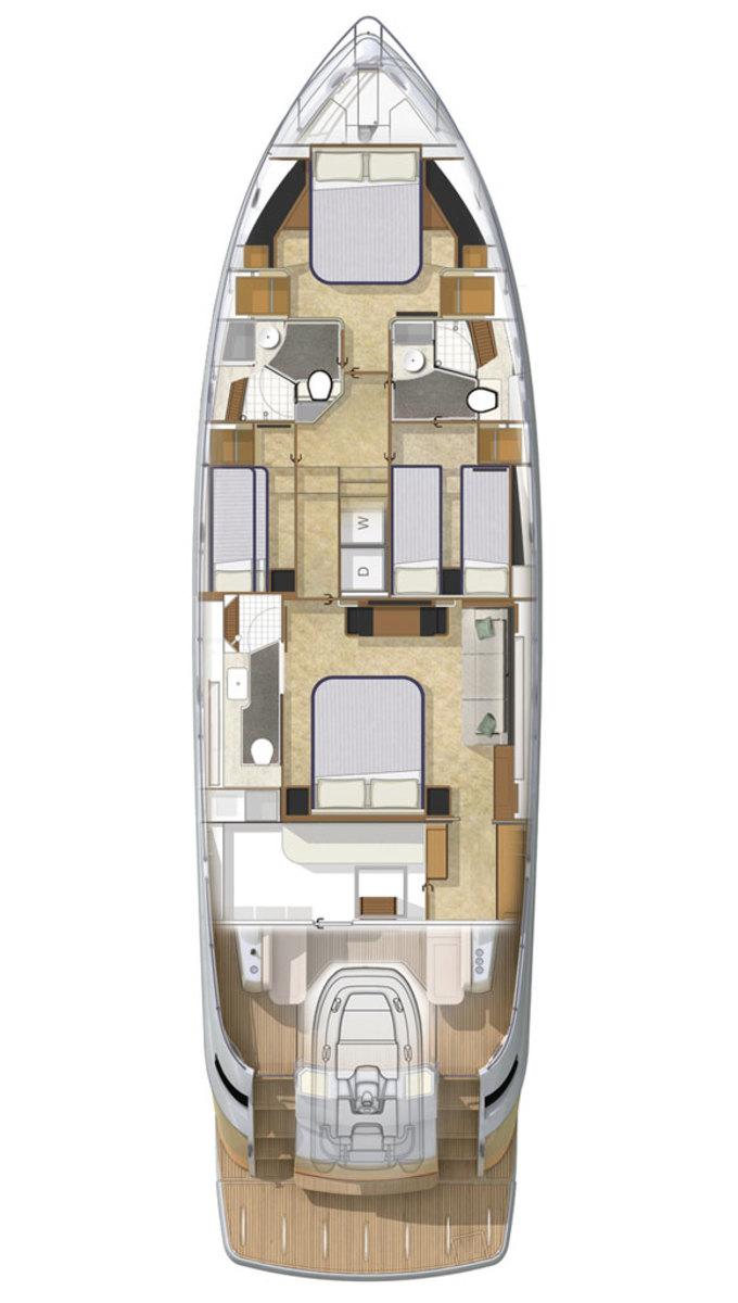 Riviera 6000 Sport Yacht deck plans