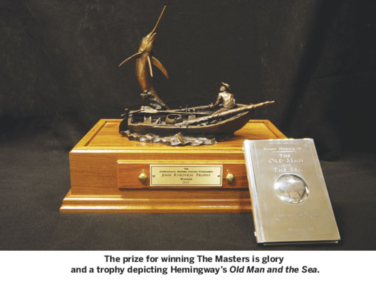 The prize for winning The Masters is glory and a trophy depicting Hemingway's Old Man and the Sea.