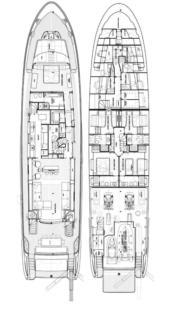 Benetti 108 Tradition Supreme - deckplans lower