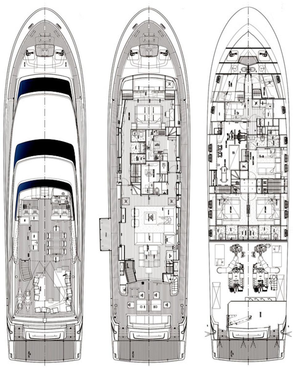 Sanlorenzo SL96 deckplans