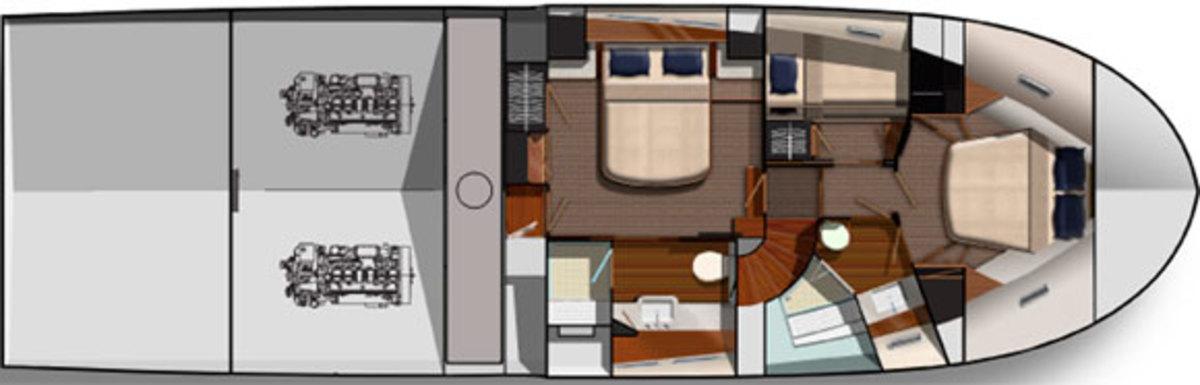 Grand Banks 55 Aleutian RP - Lower Deck Layout