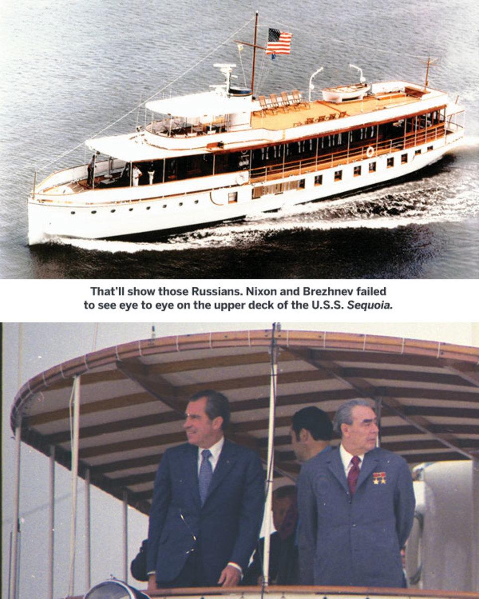 Nixon and Brezhnev aboard U.S.S. Sequoia