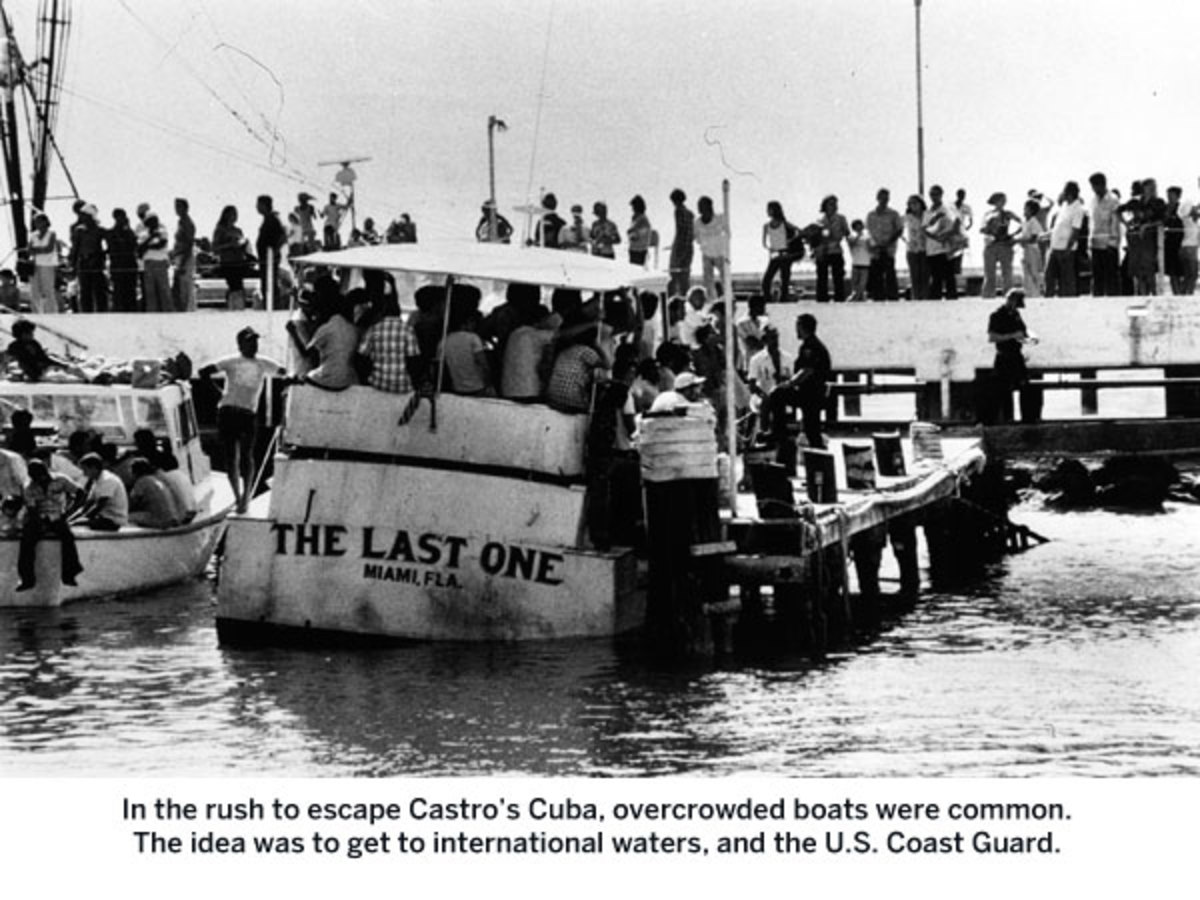 In the rush to escape Cuba, overcrowded boats were common. The idea was to get to international waters, and the U.S. Coast Guard.