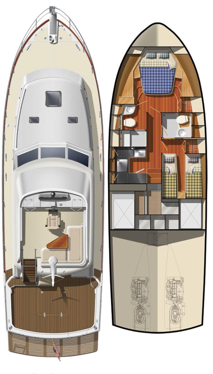 Grand Banks 46 Eastbay FB deckplans