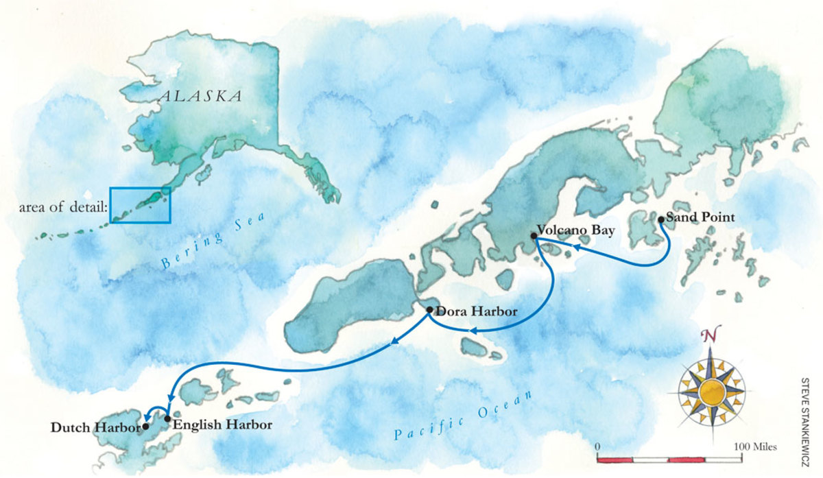 Map of the Aleutian cruise