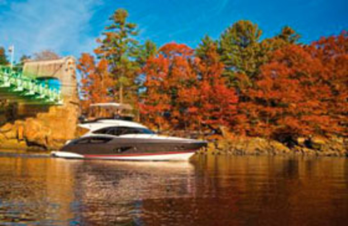 Autumn boat cruise in New England
