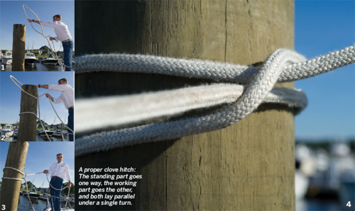 Clove hitch on a piling