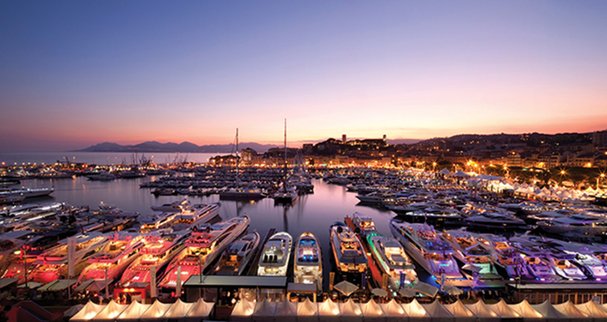Cannes boat show at night