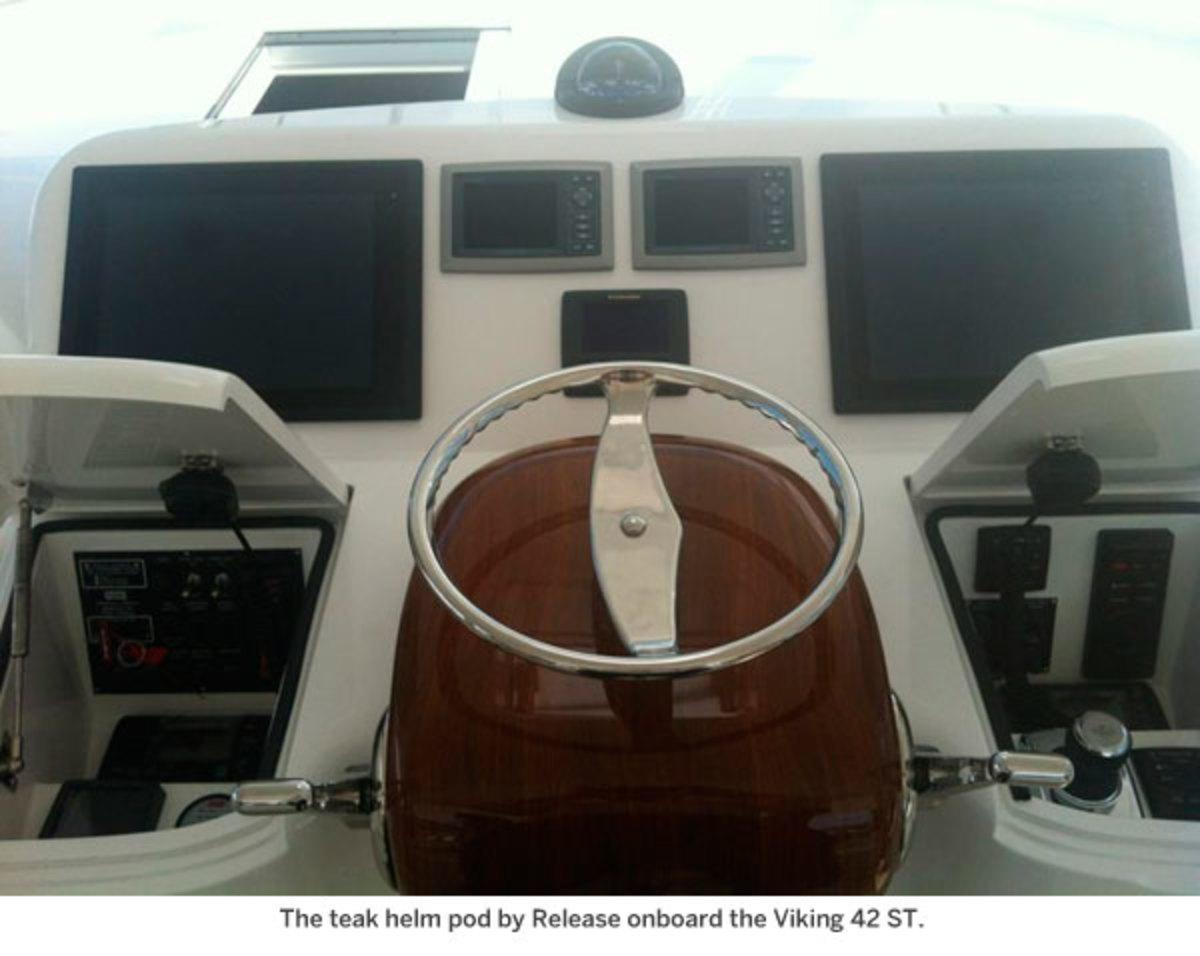 The teak helm onboard the Viking 42 ST.