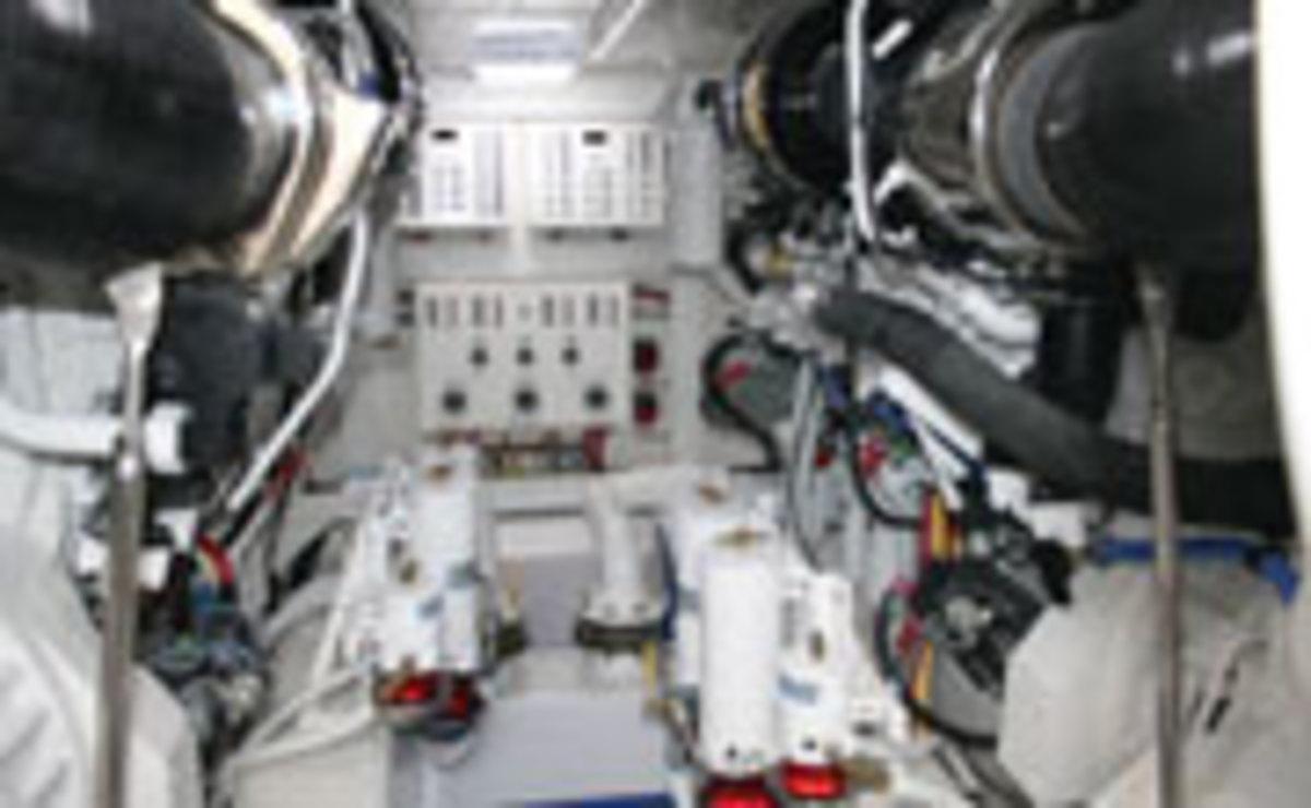 Engine room on the Bertram 64