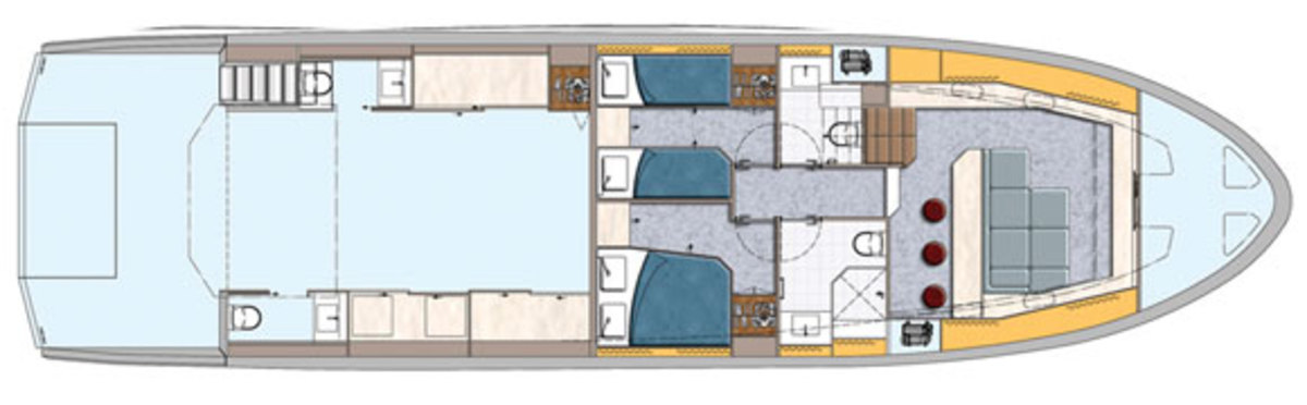 Astondoa Top Deck 63 - lower deck layout