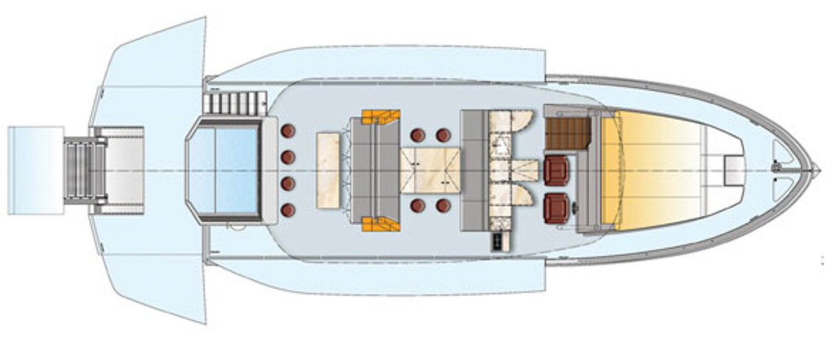 Astondoa Top Deck 63 - main deck layout (open)