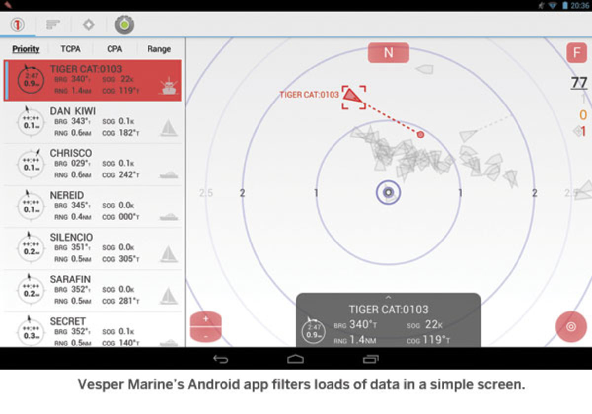 Vesper Marine's Android app filters loads of data in a simple screen.