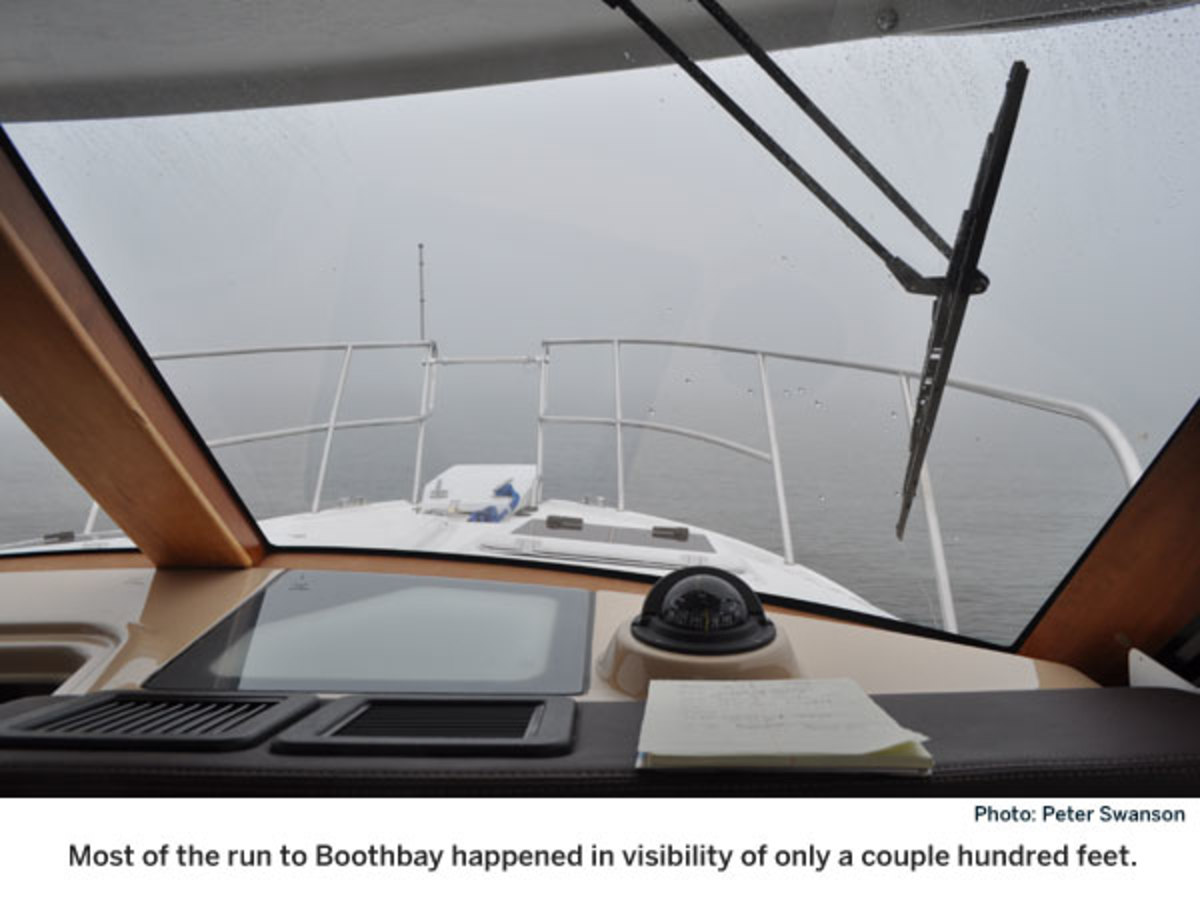 Driving boat in the fog