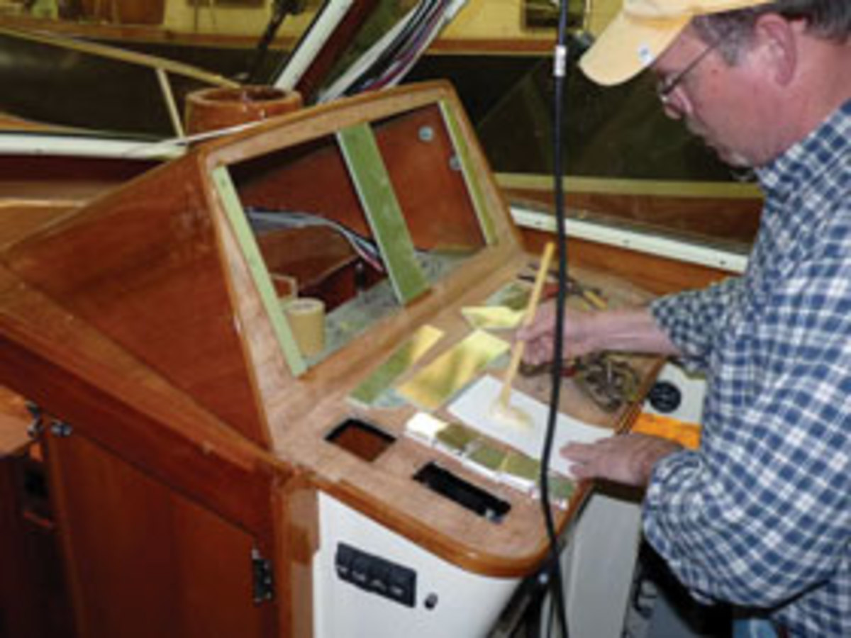 The helm refit saw the dash prepared for a pair of Raymarine gS165 multifunction displays.