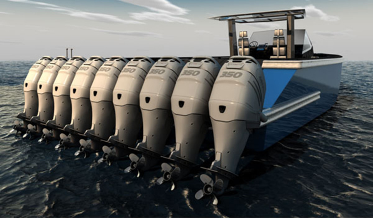 9 Outboards on a boat