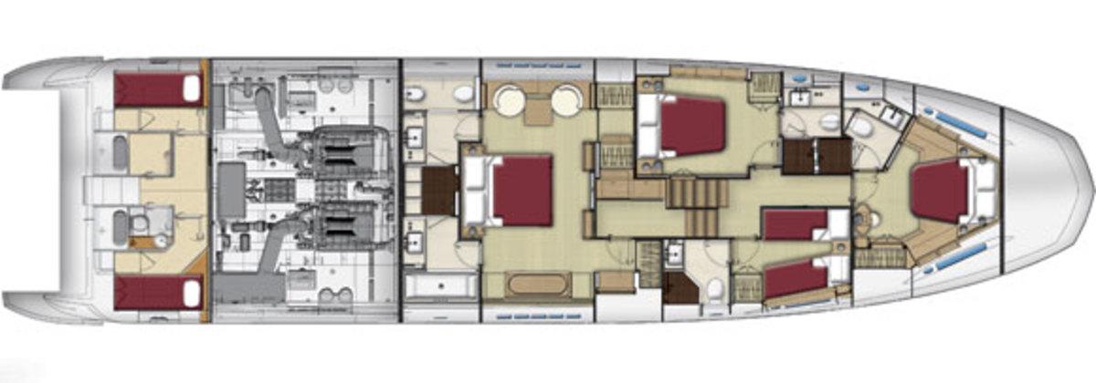 Azimut 80 lower deck layout