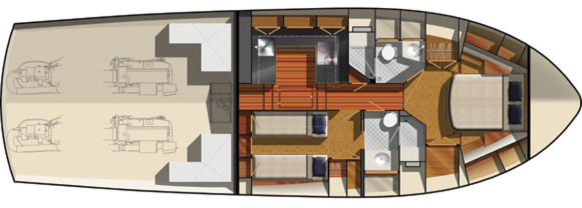 Grand Banks 50 Eastbay SX lower deck layout option