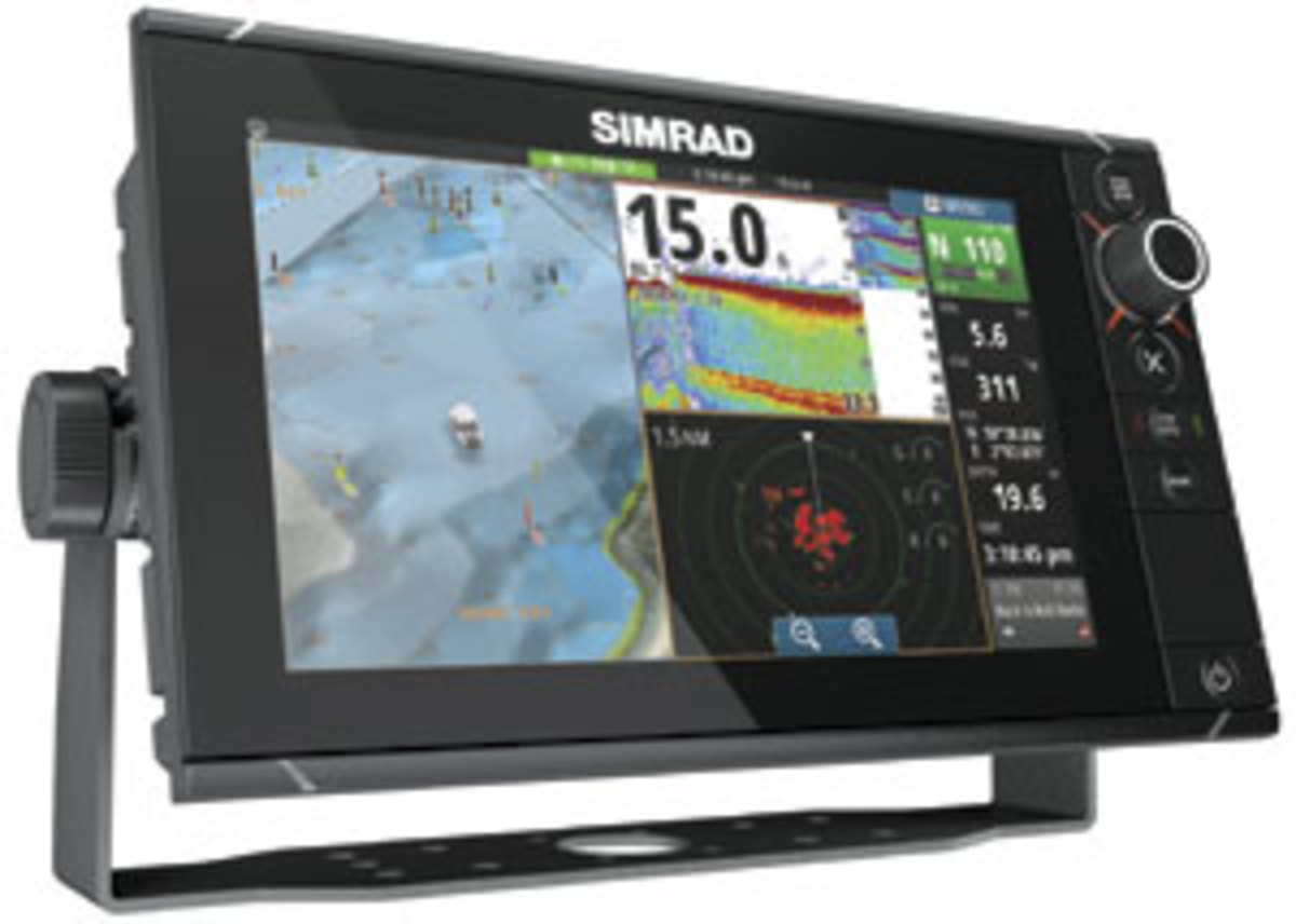 Simrad's touchsreen NSS evo2 retains physical controls, such as a rotary knob and real keys.