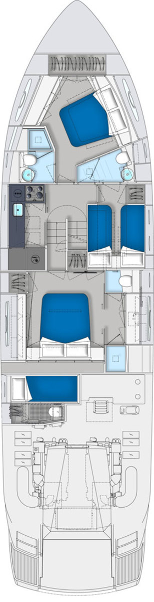 Pershing 62 deck plans - lower deck