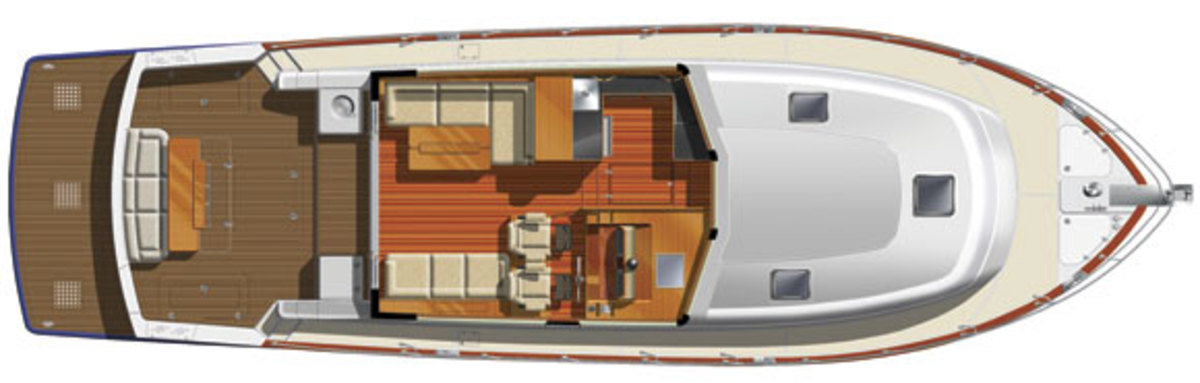 Grand Banks 50 Eastbay SX main deck layout