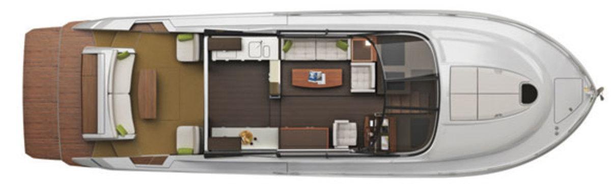 Tiara 50 Coupe layout diagram - main deck