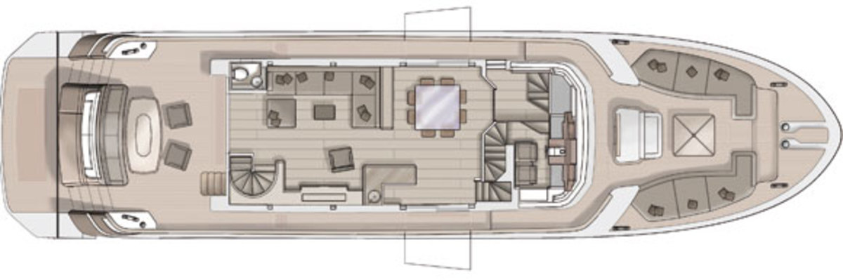 Monte Carlo Yachts 86 main deck layout diagram